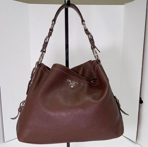 Prada Brown Leather Shoulder Handbag